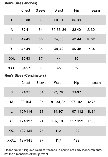 Men's - Mountain Hardwear - Shirt - sizing guide