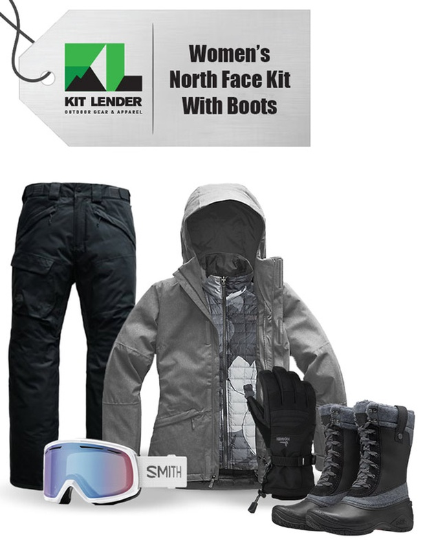 [Complete Outerwear with Boots KIT] - Womens - The North Face (Grey with Pattern Inner | Performance | 3-In-1)