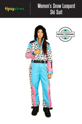[Complete Outerwear with Boots KIT] - Women's - Tipsy Elves (Black / White / Blue | Snow Leopard)
